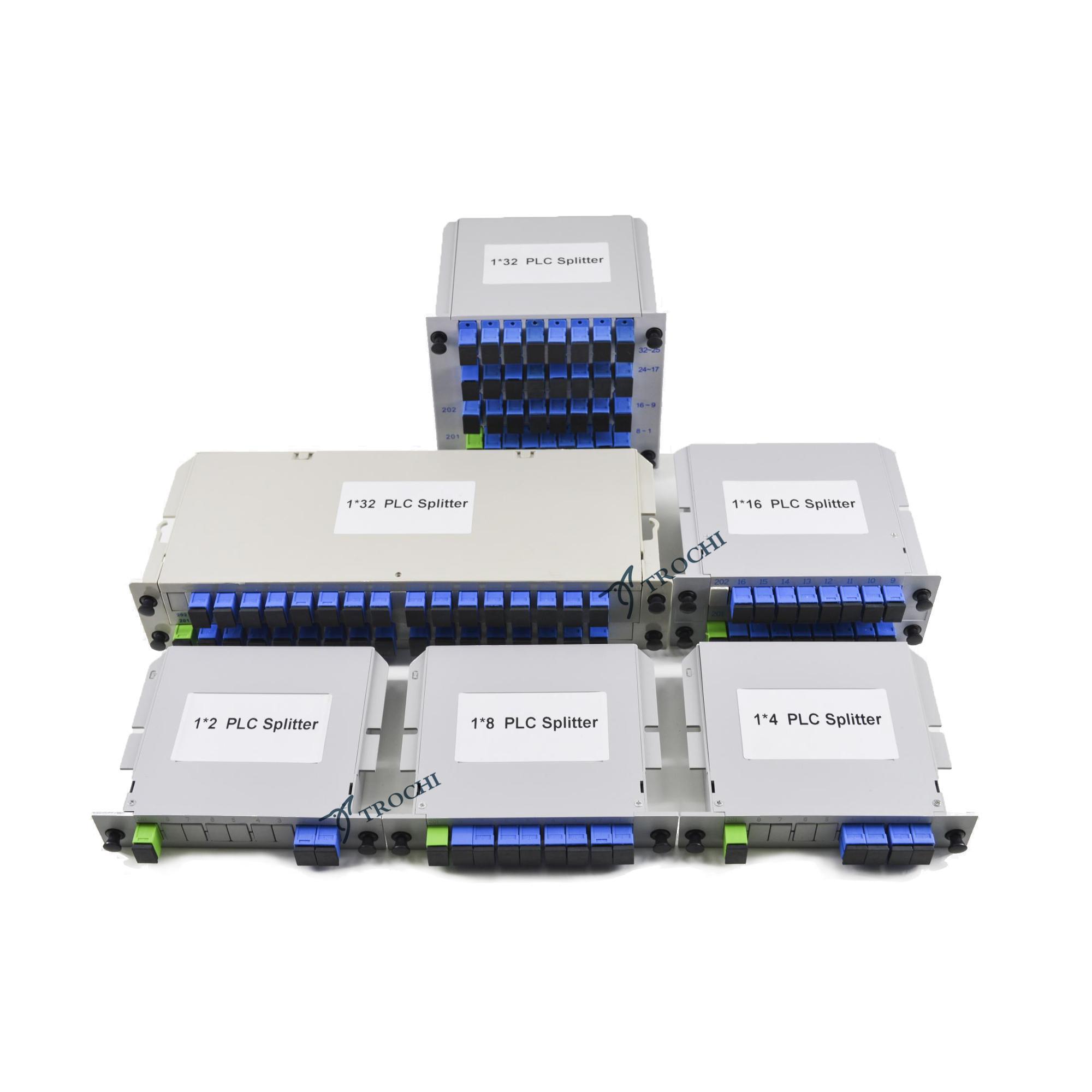 plug-in type optical fiber PLC splitter 1:2 1:4 1:8 1:16 1:32 1:64 with adaptor